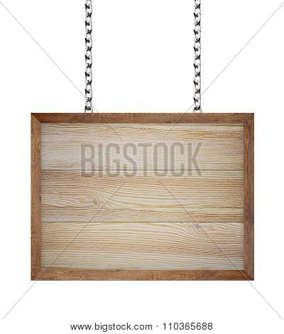 Wooden Sign Hanging From Chains