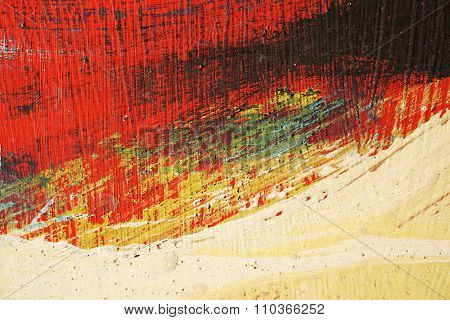 Brushstroke - Yellow,blue,black And Red Paint  On Metal Surface