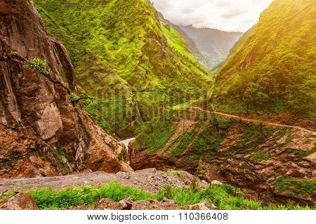 stone pathway and beautiful mountains landscape in Nepal, Annapurna trekking