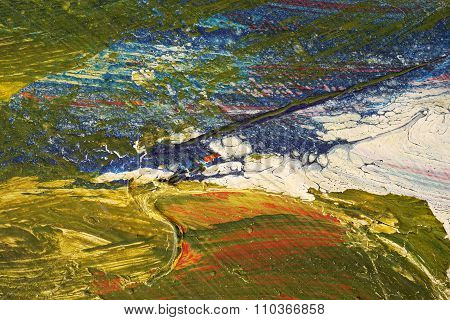 Brushstroke - Yellow,blue,white, Green, Red Paint  On Metal Surface