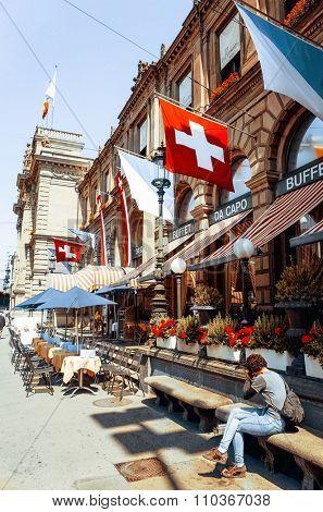 ZURICH, SWITZERLAND-June 21 : Tourists on foot Graben Street in Zurich on June 21, 2014. Zurich is the largest city in Switzerland and the capital. June 21, 2014 in ZURICH