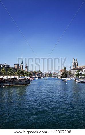 ZURICH, SWITZERLAND-June 21 : Lake Zurich is a lake in Switzerland, extending southeast of the city on June 21, 2014. June 21, 2014 in ZURICH