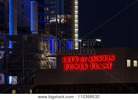 City of Austin Power Plant at Night in Texas