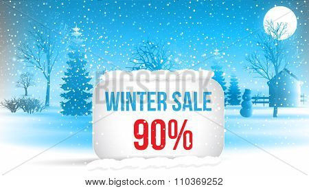 Winter Sale 90  Percent. Big Winter Sale Poster With Snowflakes