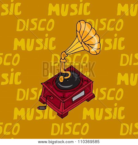 Illustration Vintage Music. Vintage Music Card With Gramophone. Seamless Pattern Phonograph.
