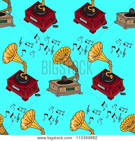 Illustration Vintage Music. Vintage Music Card With Gramophone. Seamless Pattern Gramophones.