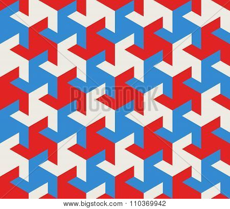 Vector Seamless Geometric Triangle Tessellation Blue Red White Shapes Tiling Pattern