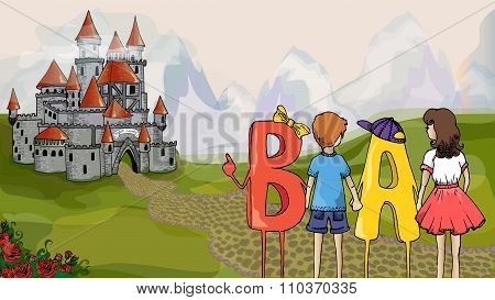 Educational Illustration. Children And Abc. Children With Letters Go To The Castle To Get Knowledge.
