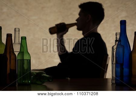 Man Is Drinking Alcohol