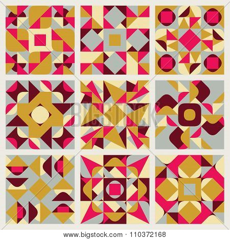 Set Of Nine Vector Seamless Blue Pink Yellow White Colors Retro Geometric Ethnic Square Quilt Patter