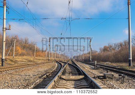 railroad landscape at fall season