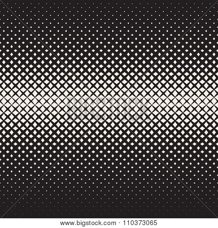 Vector Seamless Black And White  Cross Halftone Grid Gradient Pattern Geometric Background
