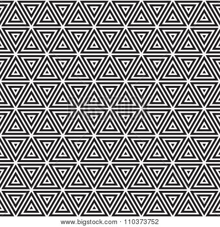 Vector Seamless Black And White Triangles Line Grid Pattern