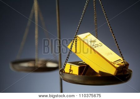 Gold ingots on brass scale