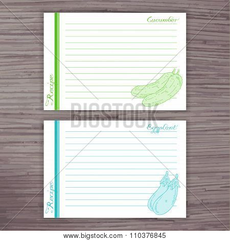 Vector Lined Recipe Card With Vegetables On Wooden Background.  Cucumber, Eggplant
