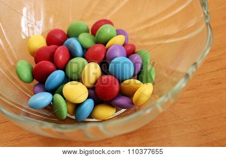 Bowl Full Of Colorful Tasty Chocolate Candies
