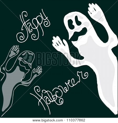 Illustration Of Halloween. Figure Ghosts. Happy Holidays.