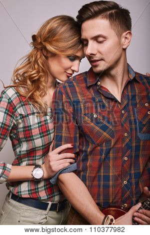 Portrait Of Fashion Glamor Stylish Hipster Young Couple
