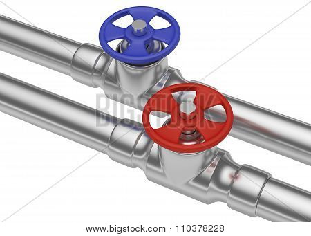 Blue And Red Valves On Steel Pipes, Diagonal View