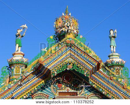KUNARA, SVERDLOVSK REGION, RUSSIA - November 8, 2011: Photo of Decorative elements of the pediment.