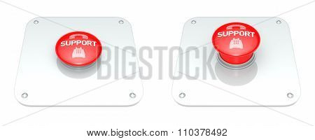 Red Support Button, Isolated On White Background.