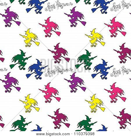 Illustration Of Halloween. Seamless Pattern With Festive Decorations. Witches On Broomsticks.