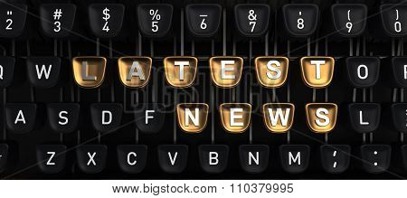 Typewriter with LATEST NEWS buttons