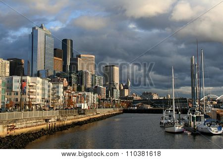 Seattle, Washington - August 2010: Dramatic sky above the Seattle port