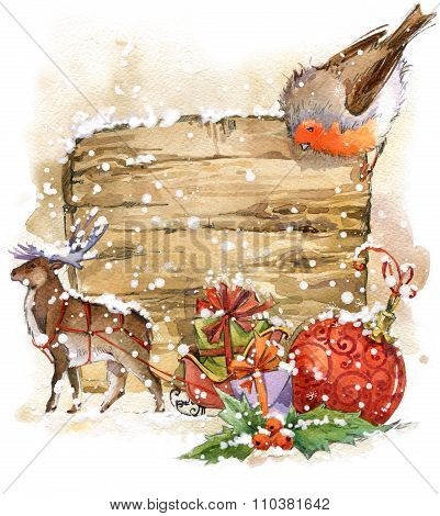 Watercolor Christmas bird and Christmas background . watercolor illustration