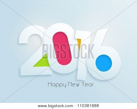 Greeting card design with text 2016 on glossy sky blue background for Happy New Year celebration.