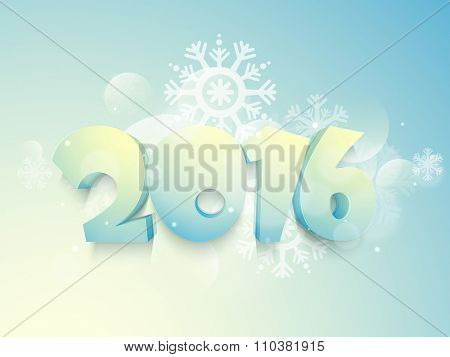 3D glossy text 2016 on snowflakes decorated shiny background for Happy New Year celebration.