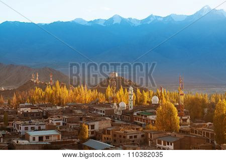 High angle view of Leh city in falls, the town is located in the Indian Himalayas at an altitude of 3500 meters, North India