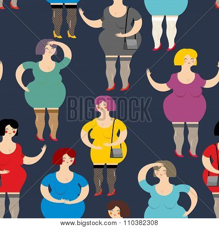 Night Prostitute Seamless Pattern. Many Women Are Whores. Funny Fat Women Sex Industry Workers. Text