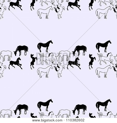 Illustration Of The Horse. Seamless Pattern. Mustangs On A Blue Background.