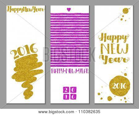 Glittery New Year Banners - Vertical 2016 Happy New Year banners, with gold and bright pink/fuchsia glitter texture and abstract decorative elements on white background, hand drawn