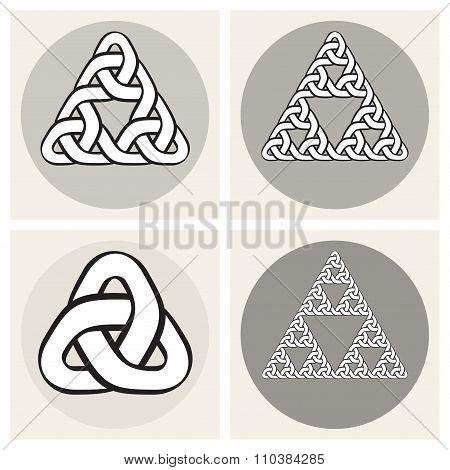 Set Of Four Vector Celtic Interweaving Line Triangle Knots Design Elements