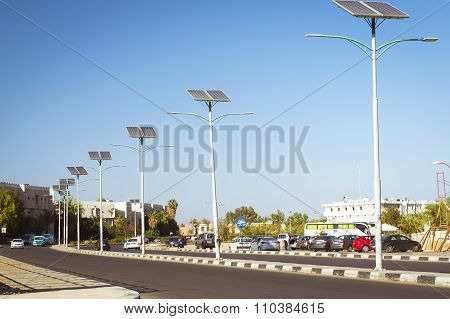 Solar Panels On Electric Pole For Lighting On The Road In The City, Sharm El Sheikh