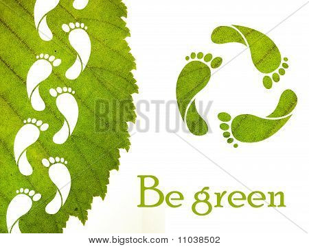 Footprint recycle sign and green leaf