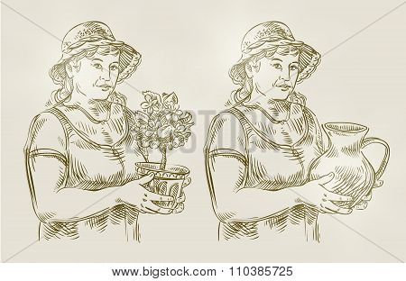 hand drawn sketch set farming, gardening. vector illustration