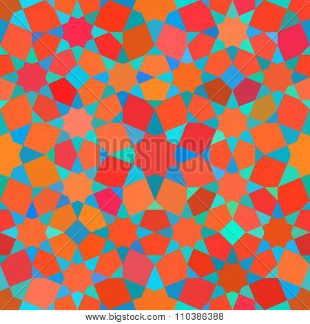 Vector Seamless Tessellation Star Mosaic Red Blue Shades Geometric Pattern