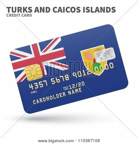 Credit card with Turks and Caicos Islands flag background for bank, presentations, business. Isolate
