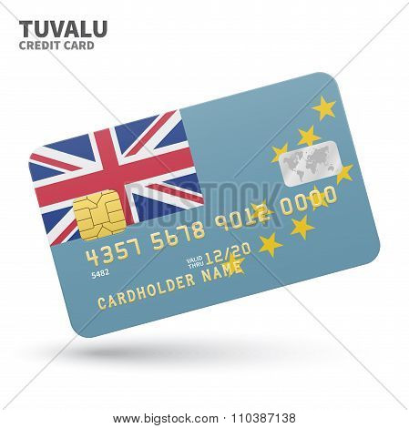 Credit card with Tuvalu flag background for bank, presentations and business. Isolated on white