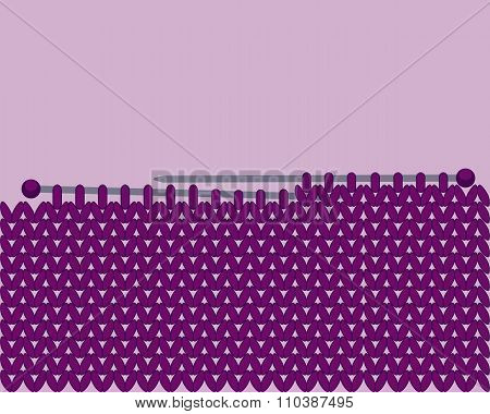 Purple knitted background and needles for knitting. Vector illustration