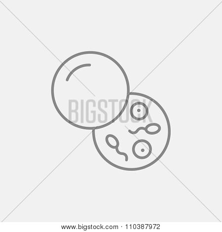 Donor sperm line icon for web, mobile and infographics. Vector dark grey icon isolated on light grey background.