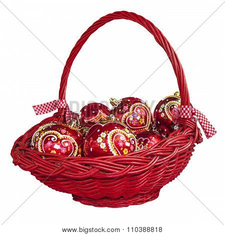 Christmas Decorations With Balls In Basket