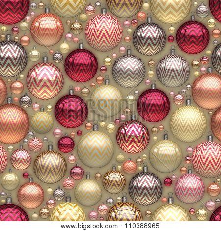 Raster Seamless New Year Christmas Tree Holiday Balls Jumble Pattern