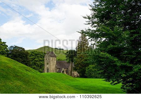 Old Church, Green Meadows And Trees In Beautiful Ilam Hall