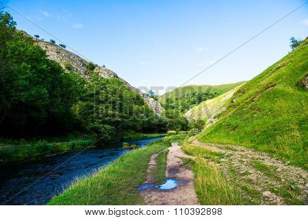 Green Hills, River Dove In Peak District National Park
