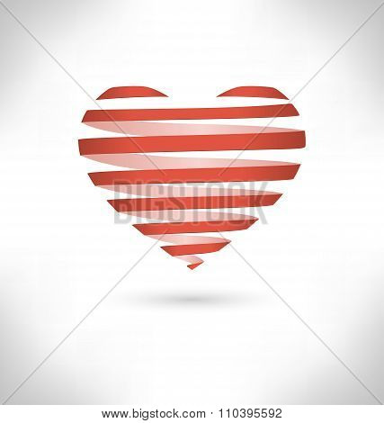 Red Spiral heart on gray background