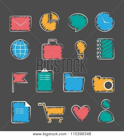 Set of business office flat hand-drawn icons isolated on gray
